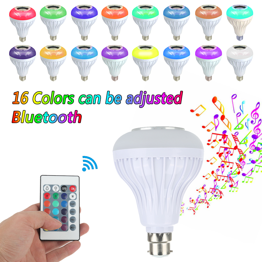 LED RGB Bluetooth Speaker Bulb Wireless 12W Power Music Playing Light Lamp portable professional 2 4g wireless voice amplifier megaphone booster amplifier speaker wireless microphone fm radio mp3 playing