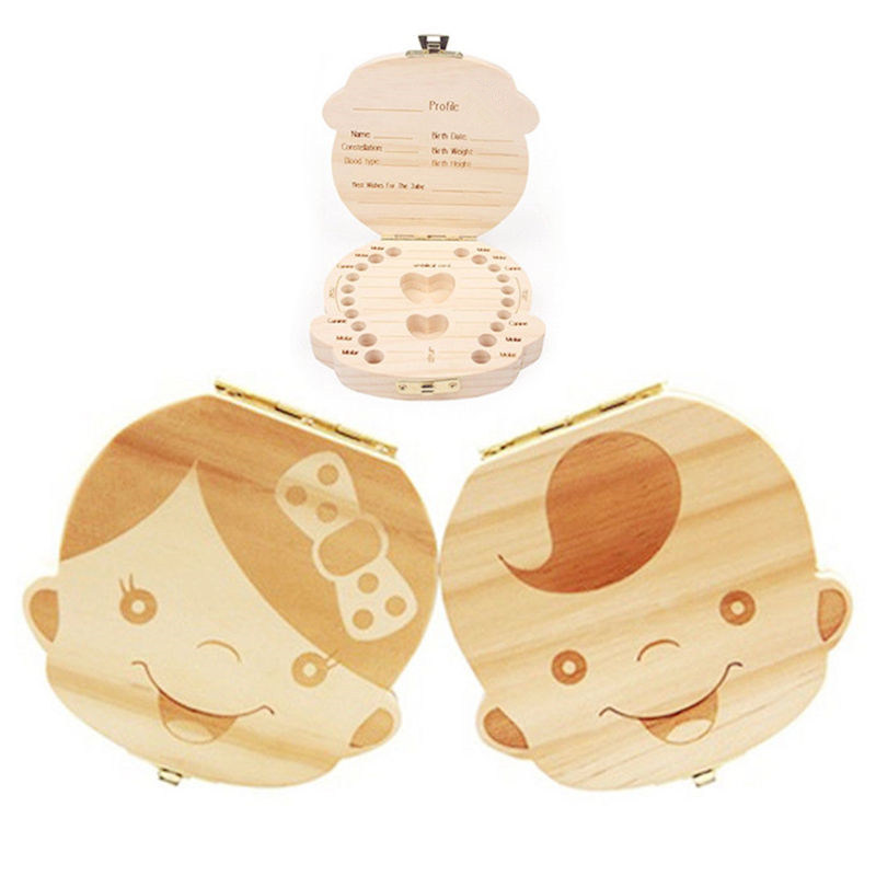 Wooden Baby Kids Tooth Storage Box English/Spanish/French/Russian/Italian Teeth Umbilical Lanugo Organizer Gift Keepsakes Save