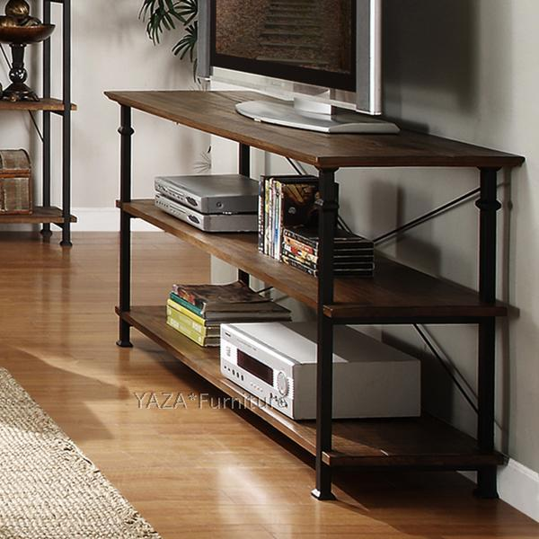 Loft Retro Style Tv Stand Old Pine Shelves Iron To Do The