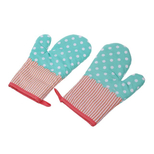 2x Oven Gloves Microwave BBQ Oven Cotton Baking Pot Mitts Kitchen Oven Mitts  Heat Resistant Cooking