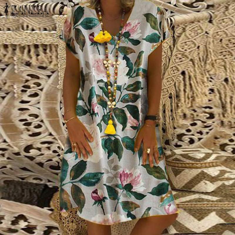 ZANZEA Women Summer Short Sleeve Cotton Linen Dress Vestido Robe Kaftan Femme Vintage V neck Floral Printed Party Sundress 5XL 2