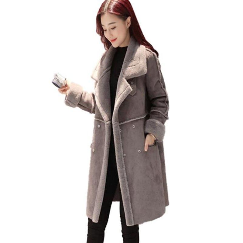 Di Lana Donne Medio Caldo Delle Inverno Lungo Vestiti Grigio Più Il Cappotto 2018 Pelle Scamosciata Spessore Giacca Tratto Formato colore Rosa Modo Agnello Cuoio 8vmNnwO0