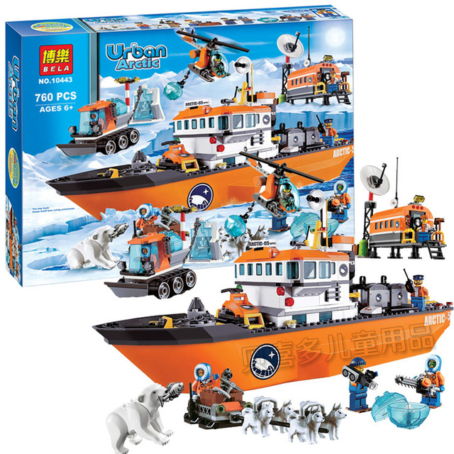 a64e450e6095 760pcs Arctic Icebreaker Helicopter Set Building Bricks Blocks Toy Gift Ice  City 60062 Compatible With Lego