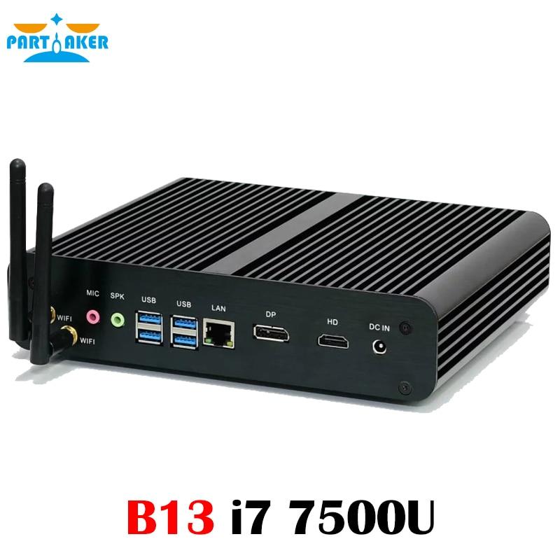 On Sale!Partaker B13 Dual Core 7th Gen i7 7500U i5 7200U i3 7100U Kodi Free Shipping WIFI Mini PC