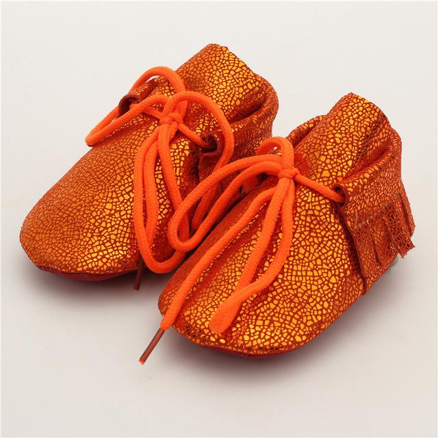 Espejo superficie inferior suave del bebé mocasines de cuero real arco bebé niños niñas zapatos primeros caminante envío gratis 0-24 m