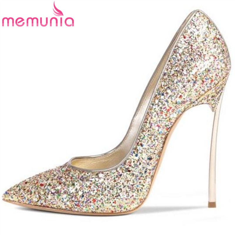 MEMUNIA 2017 new arrive women pumps fashion pointed toe shallow super high spring autumn single shoes elegant office shoes memunia 2017 fashion flock spring autumn single shoes women flats shoes solid pointed toe college style big size 34 47