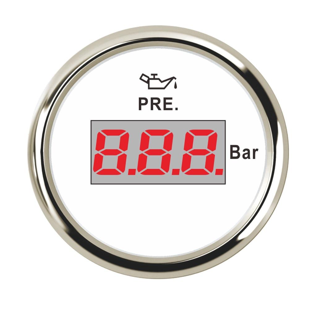 2 Pcs Stainless Steel 52 mm Waterproof Oil Pressure Gauge 10 Bar Digital Pressure Meter fit Boat Car Pressure Sensor 9~32V leierda full stainless steel pressure gauge acid resisting anticorrosive gas pressure meter anti rust pointer table y 100bf