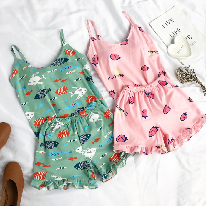 Summer Lovely Camis Top And Frill Hem Shorts   Pajama     Set   Women Lovely High Elastic Pineapple   Set   Two Piece Pink   Pajama     Set