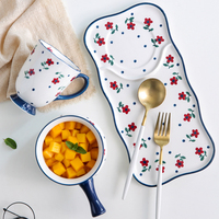 ceramic dish Japanese breakfast dishes cutlery set one person tableware creative cute cherry breakfast plate oatmeal bowl