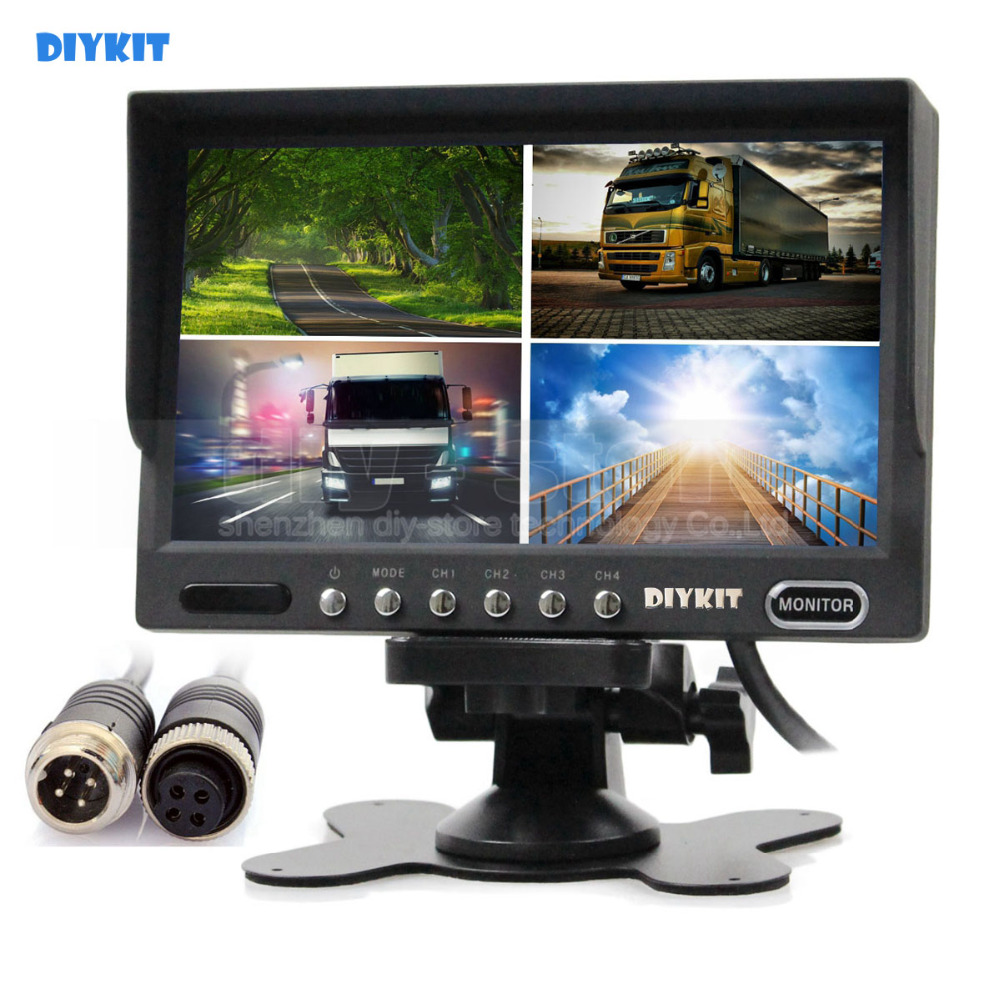 DIYKIT 4PIN DC12V-24V 7 Inch 4 Split Quad LCD Screen Display Color Rear View Car Monitor for Car Truck Bus Reversing Camera bus zadar split