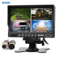 4PIN DC12V 24V 7 Inch 4 Split Quad LCD Screen Display Color Rear View Car Monitor
