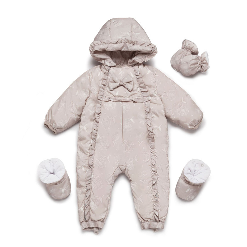 Baby Snowsuit Newborn Snow Wear Coverall Infant Fleece Jumpsuit Girls Outerwear Romper Floral Winter Girl Jacket Princess Hoodie paul frank baby boys supper julius fleece hoodie