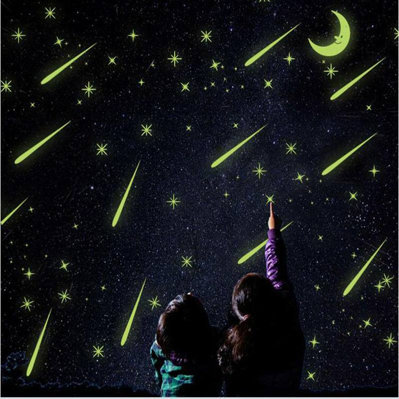 Y0037 Wall Stickers New Meteor Shower Romantic Night sky 3d luminous Fluorescent Stickers wall stickers bedroom window