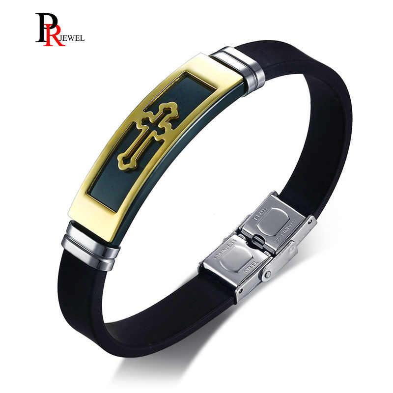 "Gold Tone Cross Cuff Bracelet for Men Black Rubber Bracelets Bangles Male Prayer Armhand Jewelry 8"""