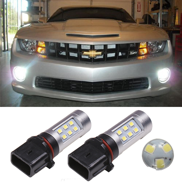 2pcs P13W PSX26W Led Bulb White 800Lm Car Fog Lamp Driving Light DRL Replacement For Chevrolet Camaro 2010-2014 Car Lights