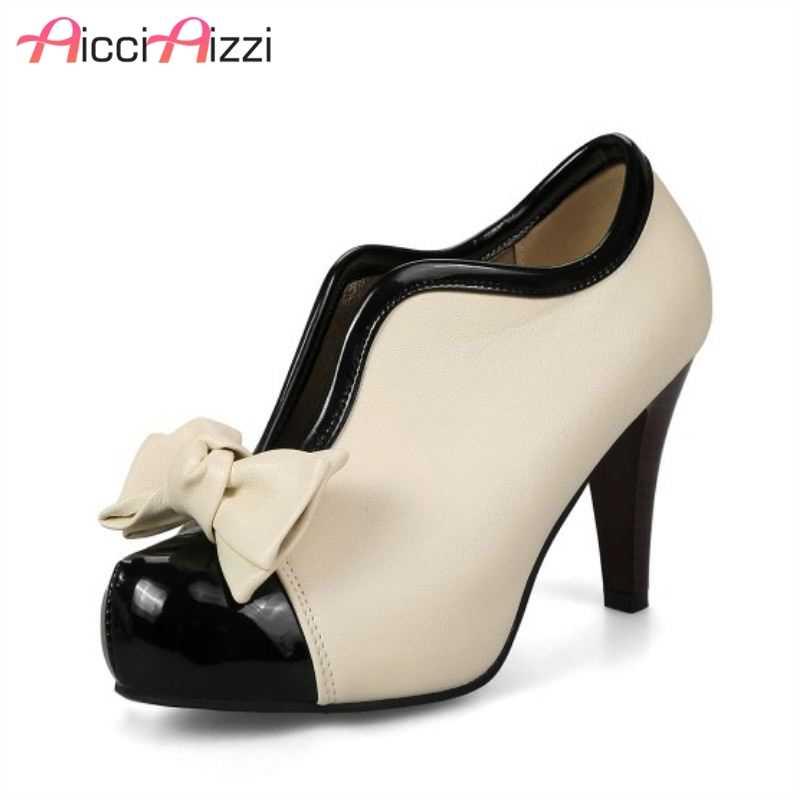 9bff3b7859 AicciAizzi Women High Heel Shoes New Sexy Lady Beige Bow Vintage Bowknot  Pumps Platform Wedding Shoes