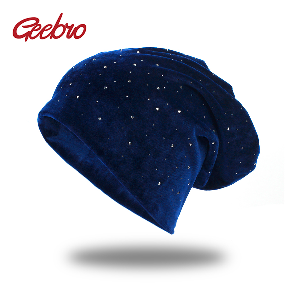 Geebro Spring Summer Rhinestone Beanies Glitter Knitted Cap Solid Color Skullies Slouchy Beanie Hats Bonnet Women's Summer Cap