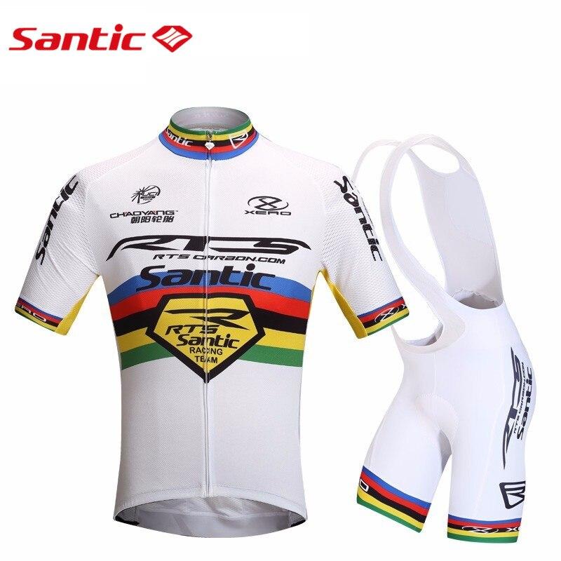 Цена за Santic Велоспорт Трикотажные Устанавливает Мужские Езда На Велосипеде MTB С Коротким Рукавом Велоспорт Костюм Белый Велокоманды Одежда Лето M5CT053W