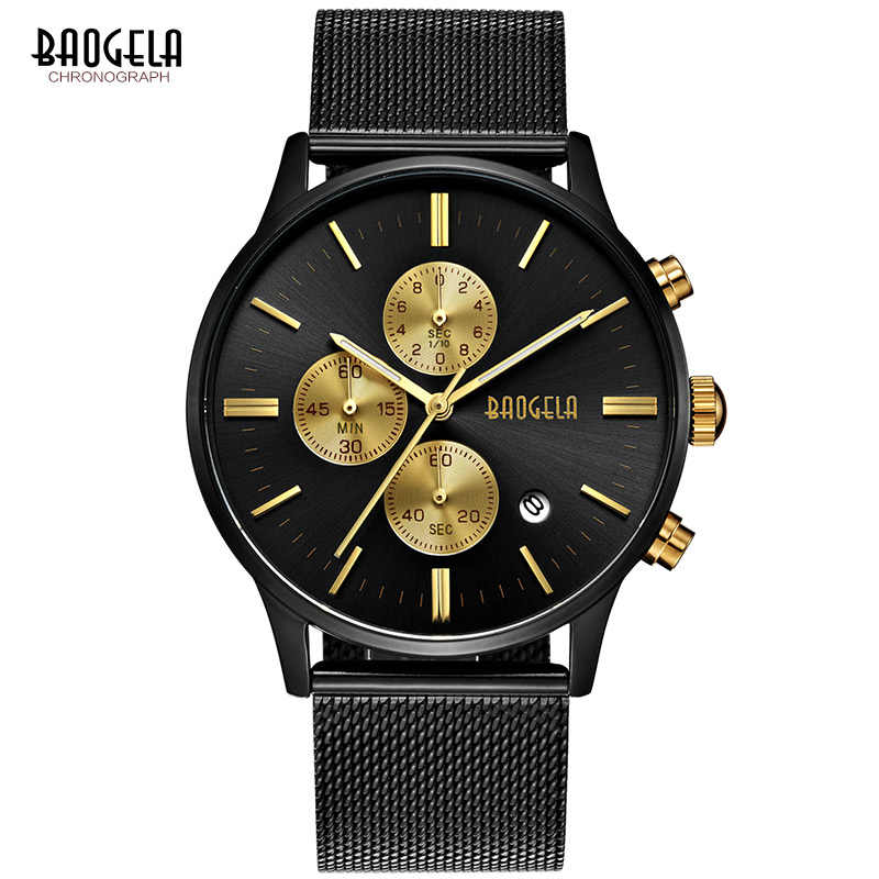 BAOGELA Men's Classic Chronograph Quartz Watches Stainless Steel Milan Mesh Strap Dress Wristwatch for Man 1611-black-gold
