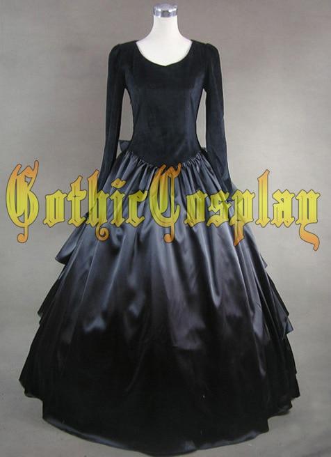 Lolita long black dress costume for women halloween cosplay