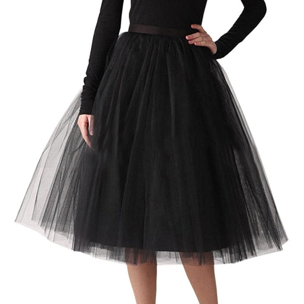 Womens Skirt Lace Tulle Skirt Quality Bouffant Puffy Fashion Skirt Summer Long Tutu Skirts юбка женская Dropshipping ##4