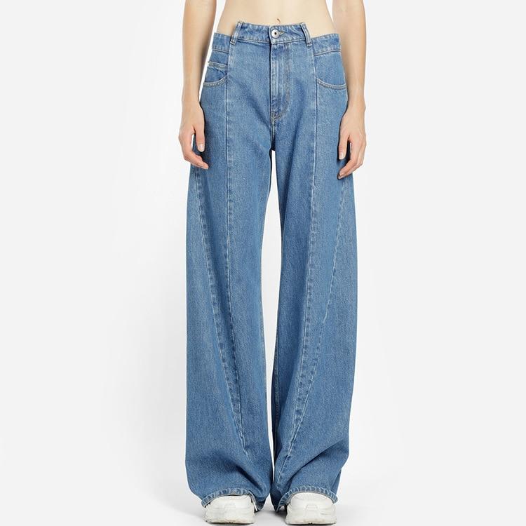 patchwork jeans female high waist asymmetrical long wide leg trousers for women 2019 spring. Black Bedroom Furniture Sets. Home Design Ideas