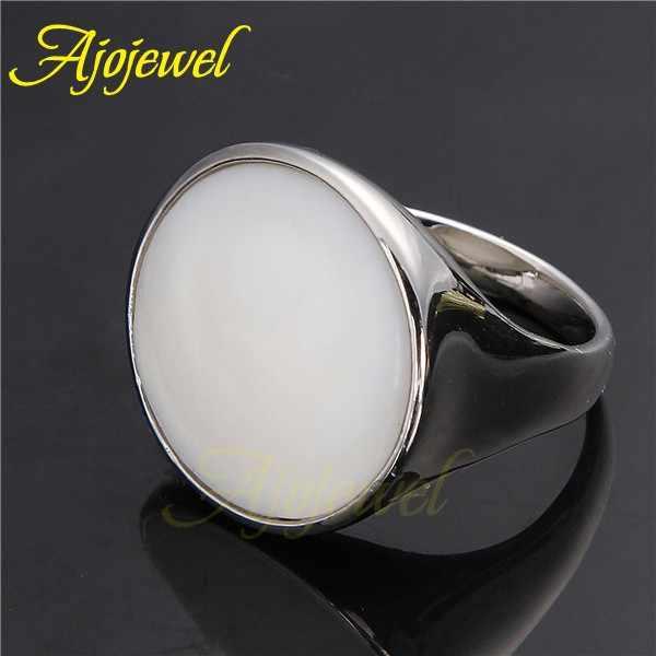 Ajojeel ขนาด 6-8 รอบสีขาวแหวนสำหรับสตรีและผู้ชาย