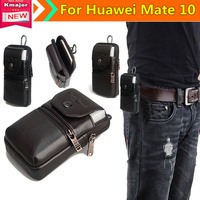 Men Genuine Leather Belt Loop Phone Pouch Holster Retro Cell Phone Case Waist Bag For Huawei