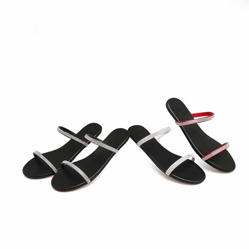 Thời Trang Giày Sandal Nữ Đơn Giản Phong Cách Nữ Đế Giày Lười Xỏ Giày Đính Kim Cương Giả Giày Plus Size 32-40