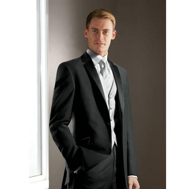 Elegant Groom\'s Wear black Notch Satin Lapel Tuxedo Wedding mens ...