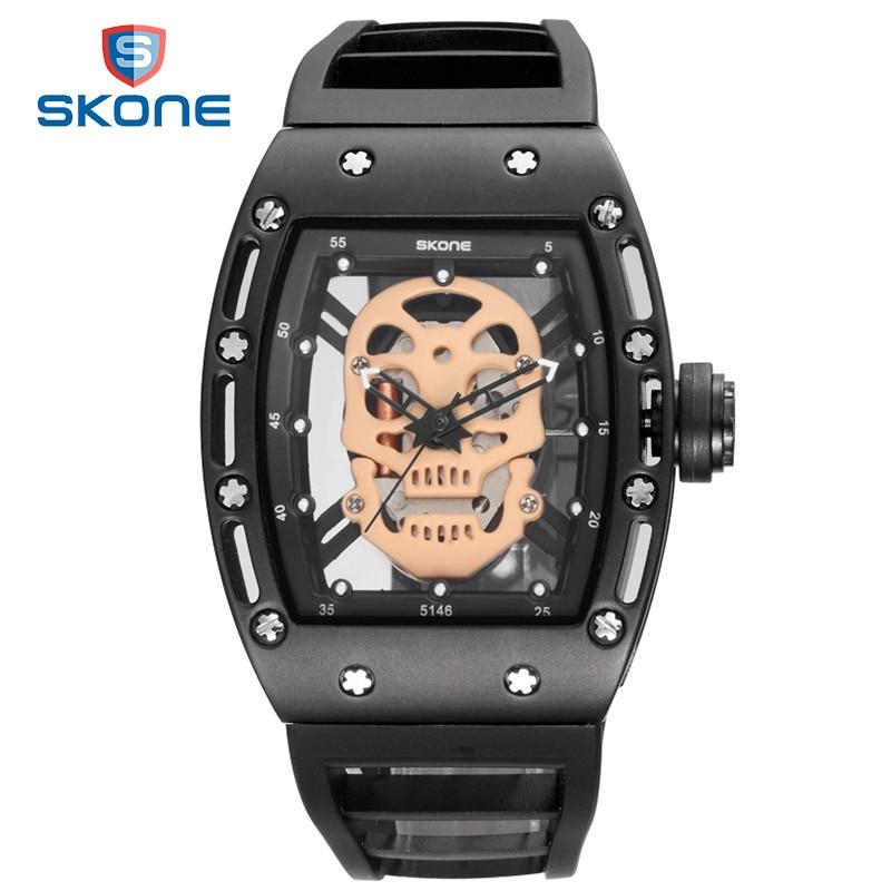 SKONE Pirate Skull Watch Brand Luxury Mens Sports Quartz Watches Black Military Silicone Relogio Masculino 2017 Men Wristwatches