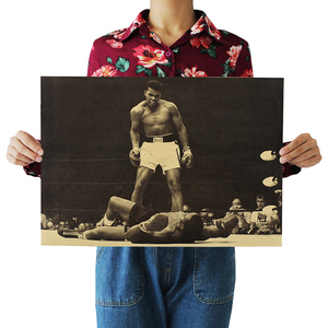 """muhammad Ali""vintage Poster Retro Kraft Paper Posters Bar Cafe Interior Decoration Painting Movie Poster 51x35.5cm Wall Sticker(China)"
