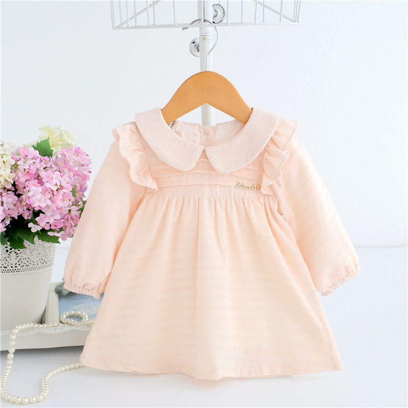 2020 Spring A-line Peter Pan Collar Kids Baby Princess Dress Newborn Infant Baby Girls Party Dresses Baby Clothes 0-2T 2 Color