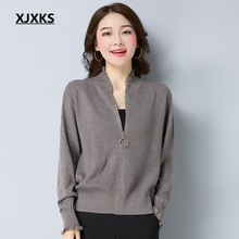 XJXKS jesień i zima kobiet sweter płaszcz dzianiny damskie swetry rozpinane solidna kurtka na zamek błyskawiczny z długim rękawem elegancki sweter płaszcze