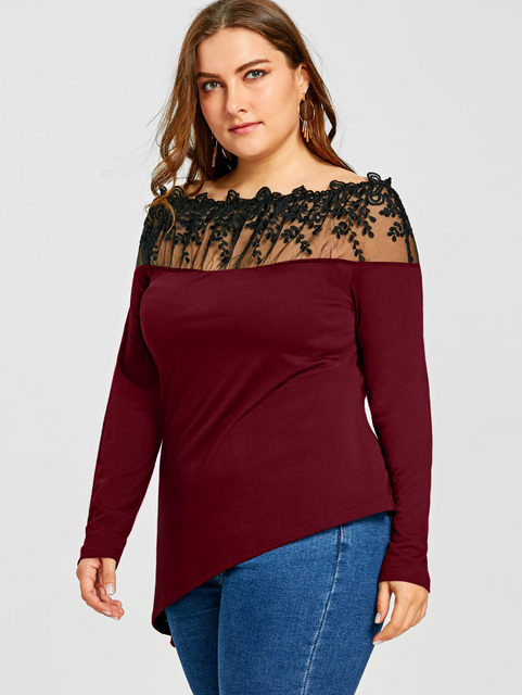 Plus Size Sheer Embroidered Asymmetric Long Sleeve T-Shirt Sexy T-Shirts Oversized Black T Shirt Big Size 5XL
