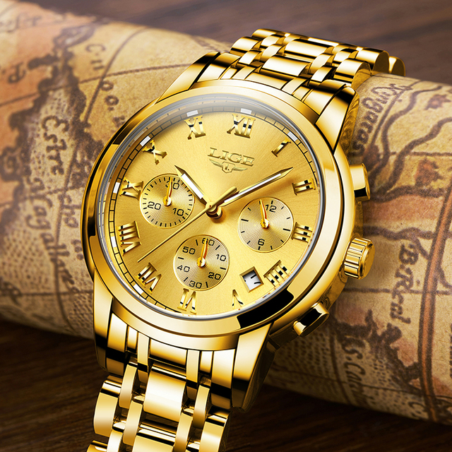 LIGE Men's Fashion Brand Multifunction Chronograph Quartz Wristwatches 4