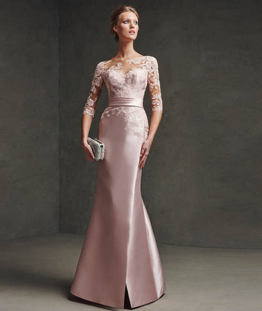 fef216c0e0a3 Nice Formal Dress 34 Sleeve Pink Evening Dress2017 Long Satin Lace  Appliques Party Gown Robe De Soiree Abendkleider Fx-3