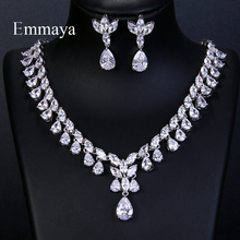 Emmaya Luxury Sparking Brilliant Cubic Zircon Drop Earring Necklace Jewelry Set Wedding Bridal Dress Accessories Party
