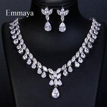 Emmaya luksusowe Sparking Brilliant Cubic cyrkon spadek kolczyki naszyjnik biżuteria ślubna dla nowożeńców sukienka akcesoria Party
