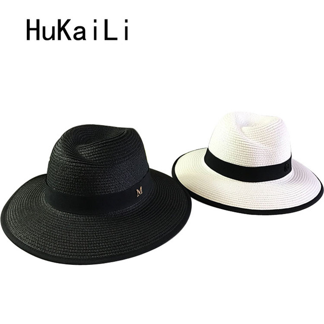 Весной и летом 2017 обметывания abnormity М стандарт MS соломенная шляпа черный и белый оттенок предотвращается греться в путешествия
