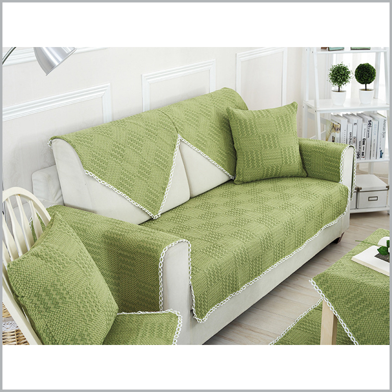 Pure Cotton Sofa Cover Pastoral Solid Green Sofa Covers