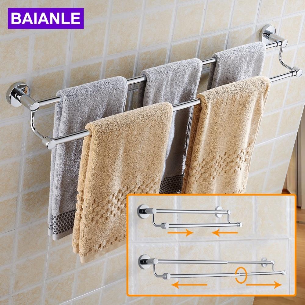 BAIANLE Bathroom Telescopic Towel Bars Stainless Steel Bath Wall Shelf Rack Hanging Towel Hangers Contemporary Style 304 stainless steel bathroom towel rack bar hangers more