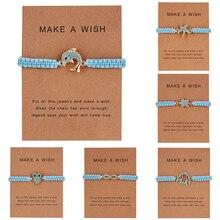 Животное с кристаллами Сова Рыба Дельфин Морская звезда браслет на запястье с сердечками для женщин открытка на день Святого Валентина подарок