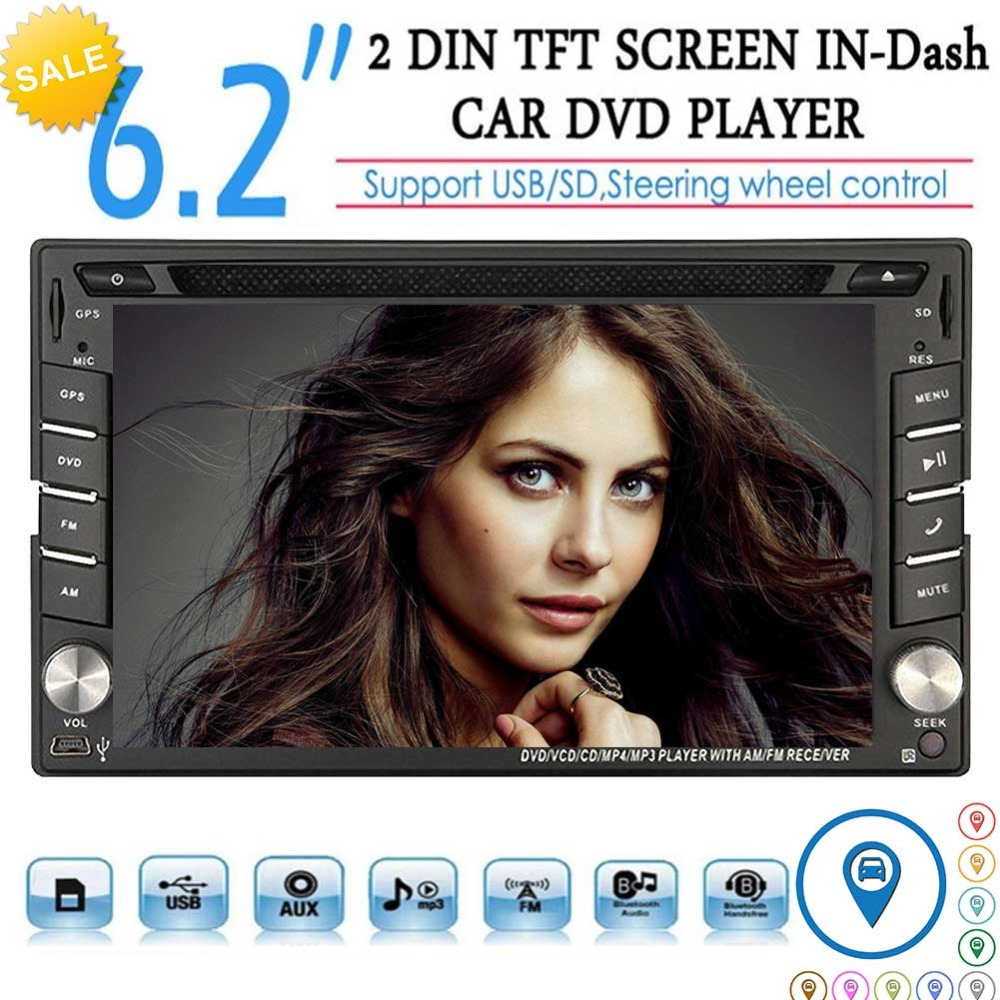 Car DVD CD Navigation Multimedia Player In Dash Double Din Car Radio GPS Navigation Support Wireless Bluetooth Music SWC FM/AM 6 2 inch universal double din car gps navigation in dash gps car dvd player fm am usb sd bluetooth radio navigation car stereo