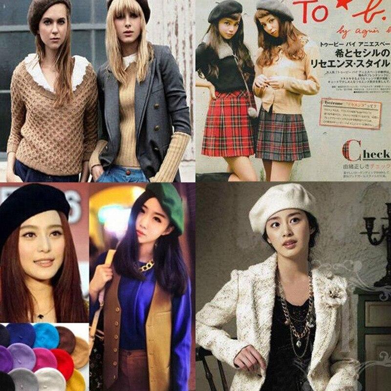 2018 Fashion Women Berets Cute Women Hat Womens Sweet Solid Warm Wool Winter Beret French Artist Beanie Hat Cap Hat Berets