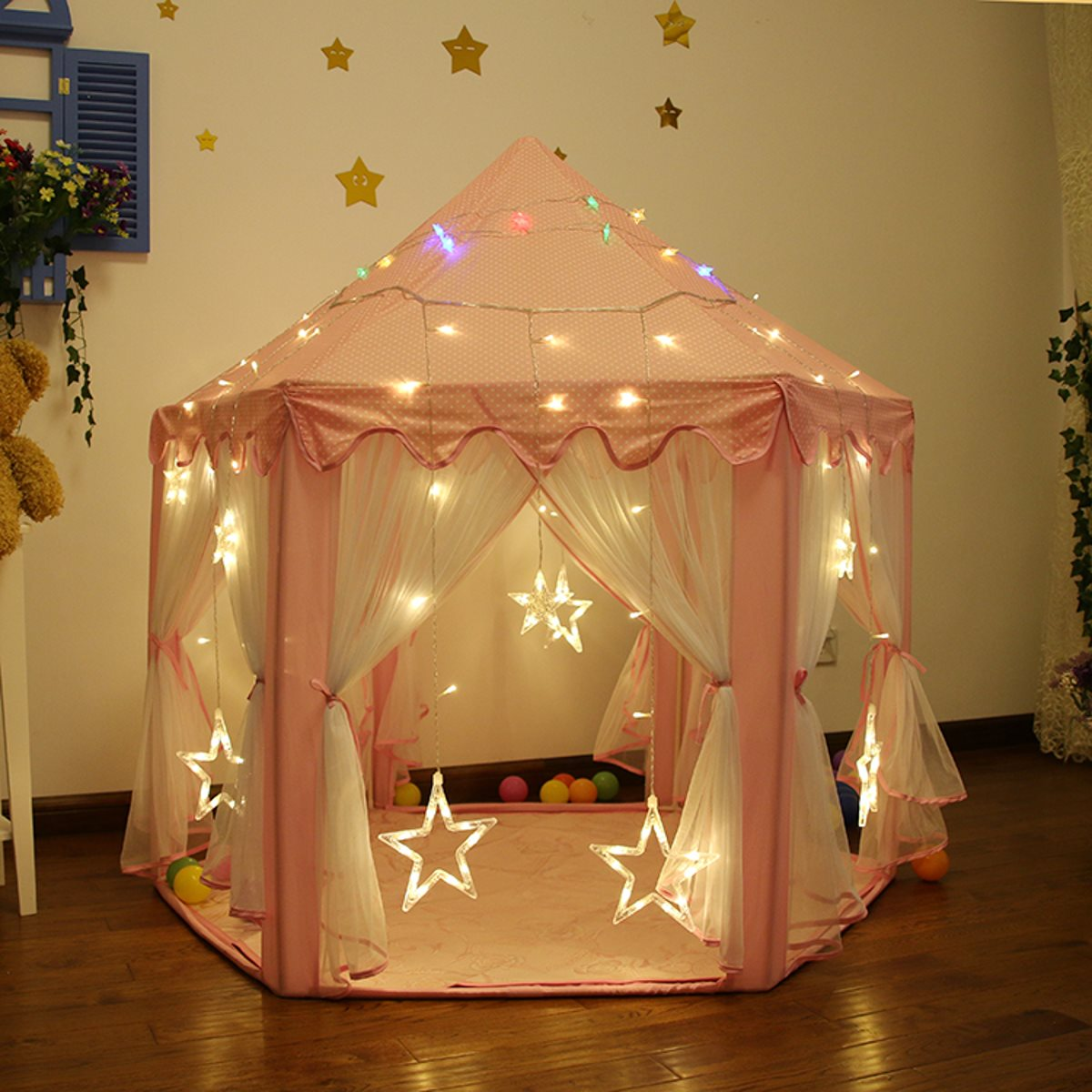 Portable Princess Castle Play Tent With Led Light Children Activity Fairy House kids Funny Indoor Outdoor Playhouse playing Toy guangzhou funny princess castle jumper inflatable princess bouncy castle princess style bed