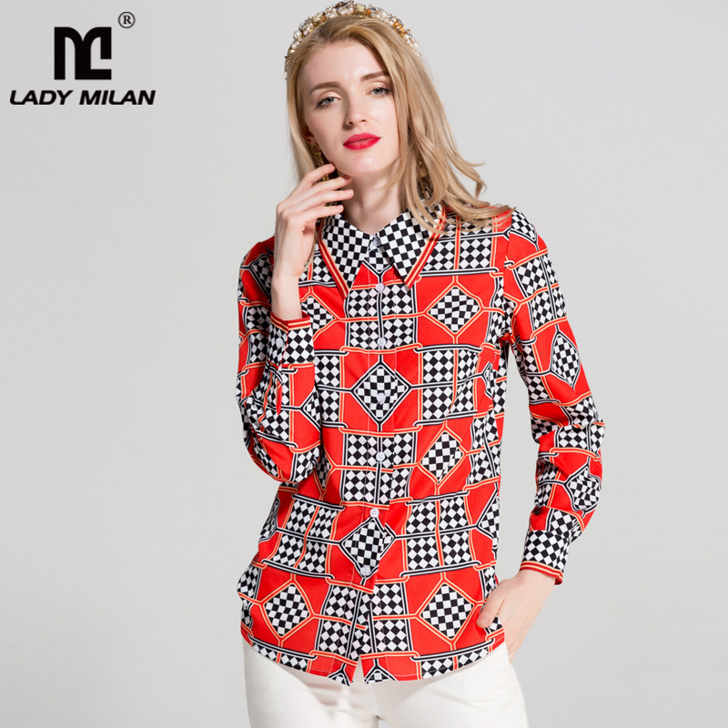 New Arrival 2018 Womens Turn Down Collar Long Sleeves Plaid Printed Designer Fashion Designer Casual Shirts