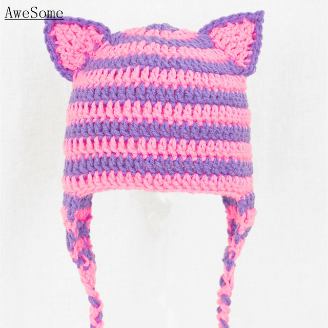 777ba6d2fb1d80 Pink and Purple Cheshire Cat Ears Earflap Hat,Handmade Knit Crochet Baby  Girl Cute Animal Hat,Kids Winter Hat,Toddler Photo Prop
