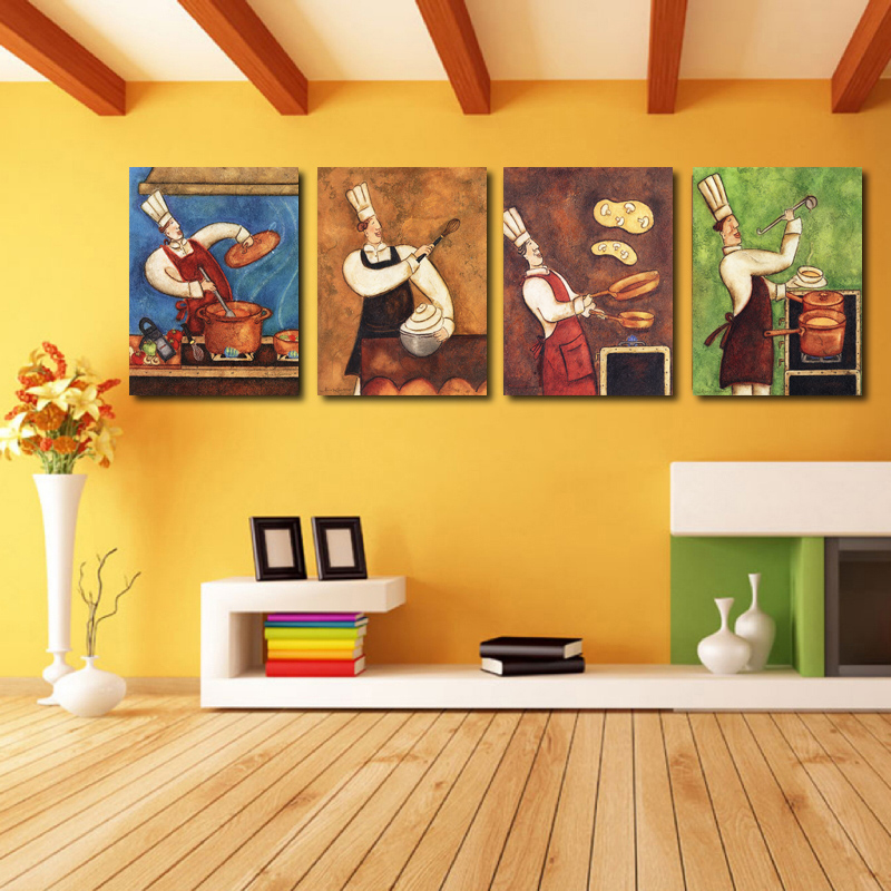 4 Pieces Modern Abstract Canvas Painting Funny Chef Wall Art For ...
