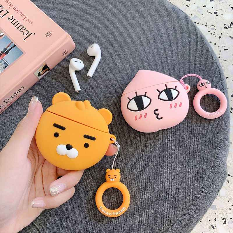 Unique Lion/Peach Pattern Soft Silicone Protective Cover Shockproof Case Skin with Lanyard for Airpods 1/2 Charging Box Accessor